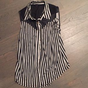 Black, White, striped, button up sleeveless blouse